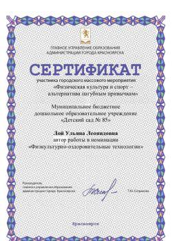 Сертификат Физическая культура и спорт – альтернатива пагубным привычкам